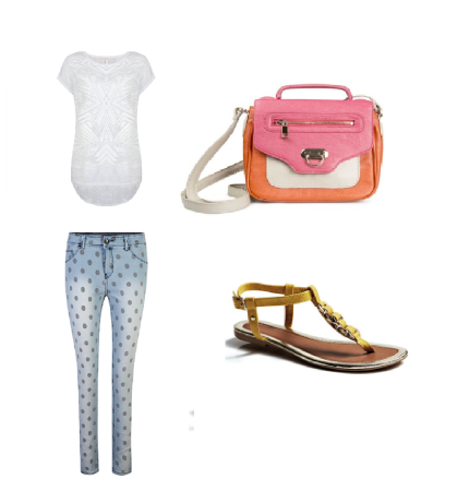 Top: Mr Price; Skinnies: Mr Price; Cross Body Bag: Woolworths; Sandal: Legit